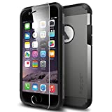 """iPhone 6 Case, Spigen® [Built-In Screen Protector] iPhone 6 (4.7) Case Protective **NEW** [Tough Armor FX] [Gunmetal] EXTREME Protection + Front Built-In Screen Protector Cover / Full Body Protection Rugged but Slim Dual Layer Protective Cover for iPhone 6 (4.7"""") (2014) - Gunmetal (SGP11281)"""