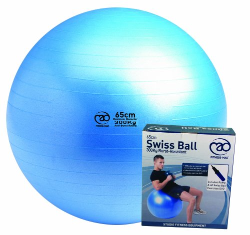 Fitness-Mad Swiss Ball with Pump & DVD 65cm Blue