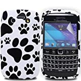 JJOnline Black White BlackBerry Bold 9790 Silicone Gel Rubber Puppies Paws Footprint Mobile Phone Case Covers / Ultra Clear Screen Film Protector and Polishing Cloth