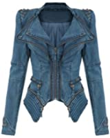 LATH.PIN Women's Punk Studded Jacket Peak Power Shoulder Denim Jean Tuxedo Coat Blazer Jacket
