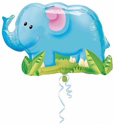 "Elephant Jungle Animal 33"" Balloon Mylar Birthday Party Zoo Safari Circus (BLUE, 1)"