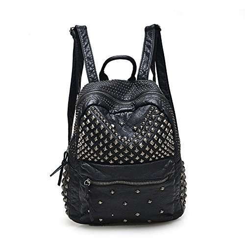 2017 Women Rivet PU Leather Backpack Women Fashion Backpacks for Teenage Girls Ladies Bags Black Satchel Bags Bolsa Feminina (ฺBlack Color) (Ed Hardy Rain Boots compare prices)