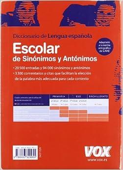 Diccionario escolar de sinonimos y antonimos de la lengua ... - photo#15
