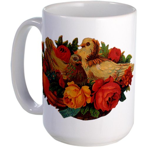 Cafepress Birds And Flowers Large Mug Large Mug - Standard