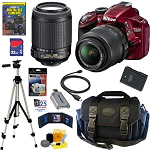 Nikon D3200 24.2 MP CMOS Digital SLR Camera (Red) with 18-55mm f/3.5-5.6G AF-S DX VR and 55-200mm f/4-5.6G ED IF AF-S DX
