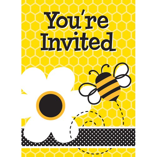 New Unique Bumble Bee Invitations (8 Count), Yellow