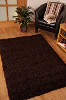 Stockholm Luxury Chocolate Brown Dense Pile Soft Shaggy Rug from The Rug House