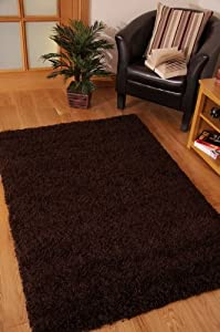 Stockholm Luxury Chocolate Brown Dense Pile Soft Shaggy Rug by The Rug House