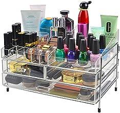 Clear Acrylic amp Chrome Cosmetics  Jewelry Storage Display Stand Makeup Organizer w Sliding Drawers