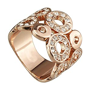 FM42 Pave Crystal Open Circle Design Luxury Cocktail Wide Ring R246 Size 7