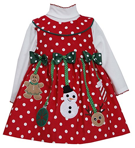 Bonnie Jean Girls Corduroy Holiday Christmas Jumper Dress & Shirt, Red, 2T
