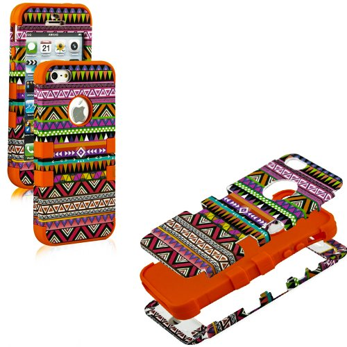 Mylife Orange - Colorful Tribal Print Series (Neo Hypergrip Flex Gel) 3 Piece Case For Iphone 5/5S (5G) 5Th Generation Smartphone By Apple (External 2 Piece Fitted On Hard Rubberized Plates + Internal Soft Silicone Easy Grip Bumper Gel)
