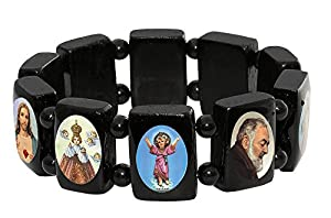 Saints Wood Bracelet with Large Squares and Colored Images. Made in Brazil.
