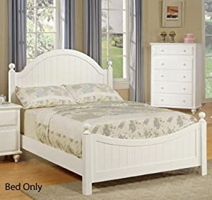 White Finish Full Size Bed Cottage Style