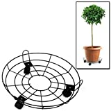 "AMOS Plant Flower Pot Planters Trolley Caddy Wheelie Wheeled Round Heavy Duty Metal Stand Holder On Wheels Castors Home Garden Patio Outdoor (16"")"
