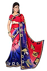 Shree Plus Red And Blue Georgette Saree