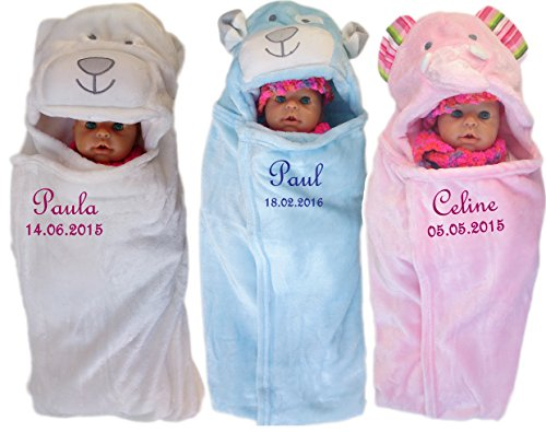 baby einschlagdecke mit namen bestickt babydecke 3d kapuze geschenk taufe geburt rosa. Black Bedroom Furniture Sets. Home Design Ideas