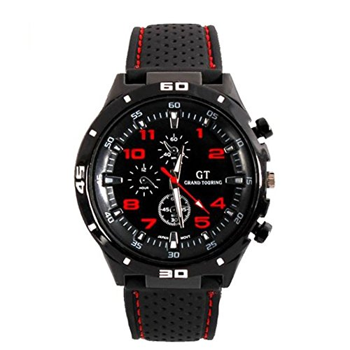 Dayan Racing Sport Stainless Steel Luxury Watch Military Army Style Black Silicone Mens Watches Red