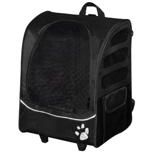 Pet Gear I-GO2 Plus Traveler Rolling Backpack Carrier for Cats and Dogs up to 25-pounds, Black with Mini Tool Box (fs)