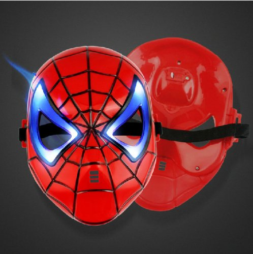 Domire Red Spider-Man Led Bright Eyes Shining Sparkle Mask Christmas Halloween Mardi Gras Carnival Venetian Costume Masquerade Fancy Dress Ball Cosplay Party Domino Mask