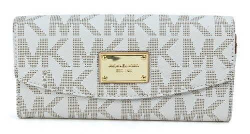 Michael Kors Signature Pvc Vanilla Slim Flap Wallet