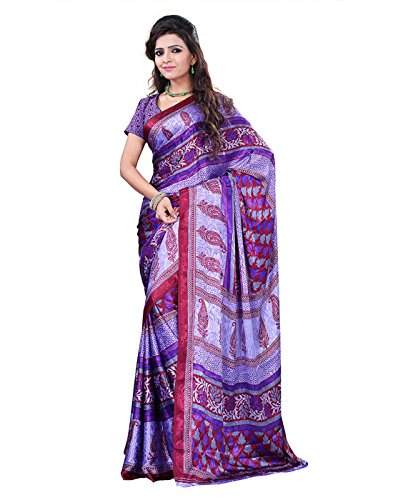 Surat Tex Purple & Red Crepe Printed Sarees With Blouse Piece