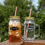 Chalkboard Large Mason Jar Mugs with Handle, Tin Lid, Plastic Straws and Chalk. 24 Oz. Each. Old Fashion Drinking Glasses - Pack of 2. By Lily's Home®