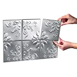 Tin Kitchen Backsplash Tiles - Set of 14, Silver