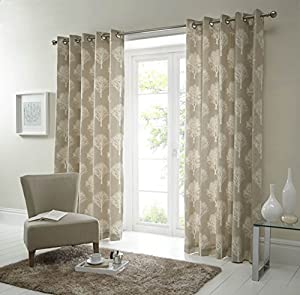 Forest Trees Cream Beige 46x54 Ring Top Lined Curtains #seertdnaldoow *cur* from Curtains
