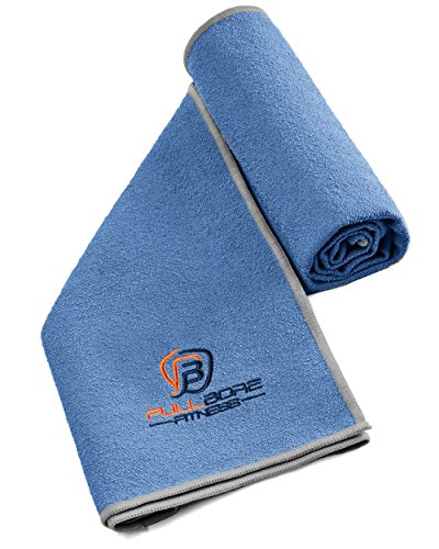 Moisture Wicking Sports Towel - Super Absorbent Fast Drying Microfiber. Great Workout Towels for Exercise, Gym, Sport, Hot Yoga, Travel, and Camping (Cobalt Blue/Gray)