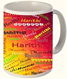 Harithi (Popular Girl Name) Printed All over Personalized!! Fun Coffee 11 OZ Ceramic Mug Microwave and Dishwasher Safe.