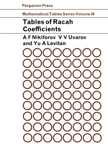 Tables of Racah Coefficients: Mathematical Tables Series