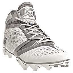 WARRIOR Men\'s Burn Speed 6.0 Mid Lacrosse Cleats - Size: 9, White/silver