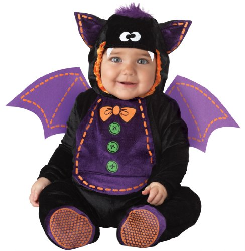 InCharacter Unisex-baby Infant Baby Bat Costume, Black/Purple, Medium