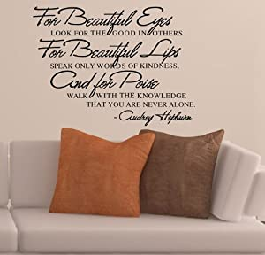 "BebšŠ Pegatinas Decoraciš®n del hogar Pegatina Adhesivo 23.6"" X 17.55"" wall stickers quotes Audrey Hepburn - For Beautiful Eyes - Look for the Good in Others, for Beautiful lips Removable Vinyl Wall Sticker Mural Decal Art Home de ColorfulHall - BebeH"