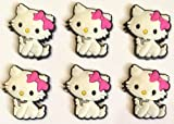 Hello Kitty Furry Cat Shoe Charms Set of 6 - suitable for Crocs Jibbitz * 18 *