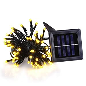 Amazon.com : Solar Powered Outdoor Christmas String Light in Yellow 37ft 100 LEDs Fairylights ...