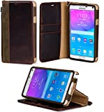 Galaxy Note 4 Case, ACEABOVE [Stand Feature] Galaxy Note 4 Wallet Case **NEW** [Book Cover Case] [Dark Brown] - Premium Genuine Leather Wallet cover with Hand Strap - Verizon, AT&T, Sprint, T-Mobile, International, and Unlocked - Leather Case with STAND Flip Cover and Credit Card ID Holders for Samsung Galaxy Note 4 2014 Model - (Dark Brown)