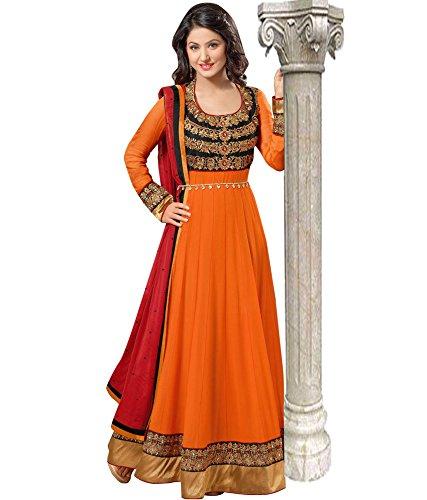Make By India ladies/girls Georgette Salwar Suit ( ~128_OrangeAnarkali salwar Suits )
