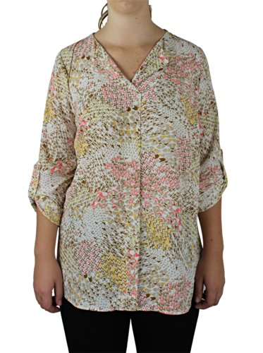 Alfa Global Plus Size Womens Lightweight Loose Top With Adjustable Sleeves 2X