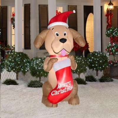 Airblown 6.5 ft. Lighted Golden Retriever with Stocking