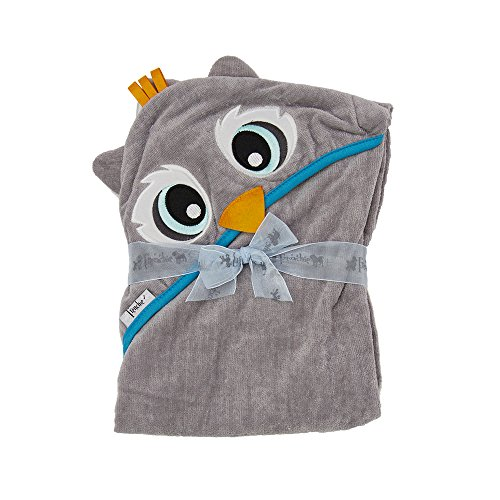 "Extra Large 40""x30"" Velour Hooded Towel, Grey Owl, Frenchie Mini Couture"