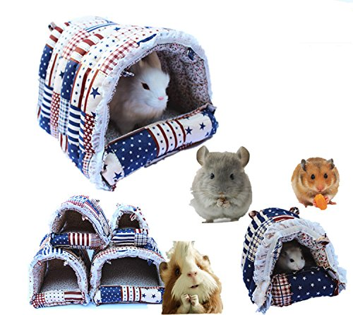 Mkono Cozy Warm Hammock Hanging Tent Bed House Habitats Cage for Pet Rabbit/Guinea Pig/Galesaur/Hamster L