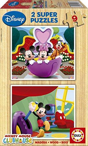 Educa-Disney-Minnie-Mickey-Mouse-Clubhouse-Super-Wood-Puzzle-Jigsaw-2x9pcs