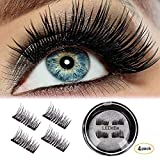 LEDitBe Magnetic False Eyelashes, 3D Black Dual Magnetic, Ultra Thick Ultra Solf and Long for Entire Eyes, Glamorous, Natural Look, Handmade Reusable Eyelashes 1Pair/4PCS (Black) (Color: 4PCS Black)