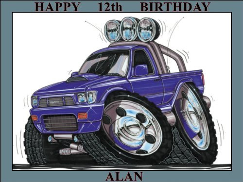 182-toyota-hi-lux-pickup-purple-koolart-0182-personalised-10-x-75-icing-cake-topper-any-name-age-or-