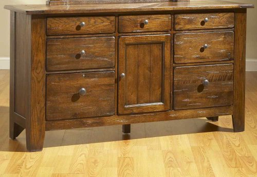 Broyhill Attic Heirlooms Oak Stain 7 Drawer Door Dresser - Rustic Oak Stain front-1003028