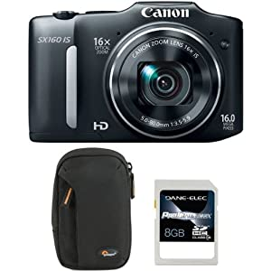 Canon 6354B001-3-KIT PowerShot SX160 IS with 8GB SD Card and Case - LP36322-0EN