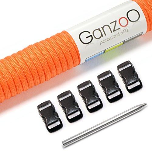Ganzoo-Paracorde-550-Set-Bracelet-laisse-pour-chien-ou-collier-pour-chien--faire-soi-mme-Corde-avec-4-mm-dpaisseur-fermeture-en-plastique-38-et-aiguille-de-Paracord-dans-le-kit-de-bricolage-disponible