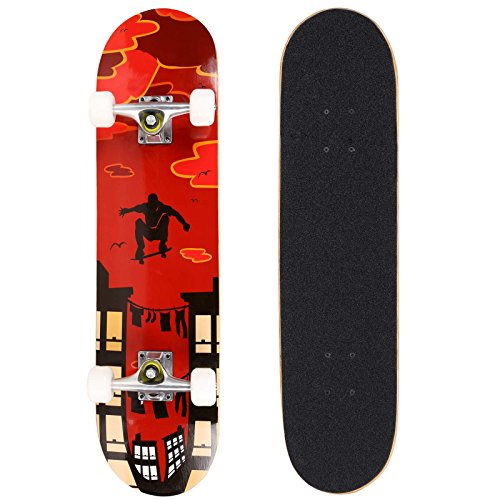 Ancheer  Skull Wood Cruiser Standard Skate Board